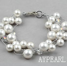 Discount Multi Strands Round White Seashell Bracelet with Lobster Clasp