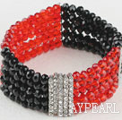 Beautiful Multi Strand Elastic Red And Black Crystal Bracelet With Rhinestone Charms