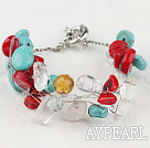 Wholesale turquoise and coral bracelet with moonlight clasp