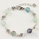 lovely rainbow flourite and tibet silver flower beaded bracelet with extendable chain