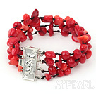 multi strand red coral bracelet
