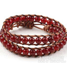 Two Rows Round Red Carnelian Beads Weaved Wrap Bangle Bracelet with Metal Clasp
