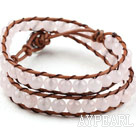 Two Rows Round Rose Quartz Beads Weaved Wrap Bangle Bracelet with Metal Clasp