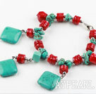 Wholesale New Design Red Coral and Turquoise Bracelet with Lobster Clasp