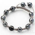 Black Series 10mm Round Tungsten Steel Stone and Rhinestone Beads Adjustable Drawstring Bracelet