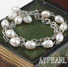 Wholesale double strand white pearl bracelet with toggle clasp
