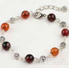 fancy 8mm round agate bracelet with extendable chain