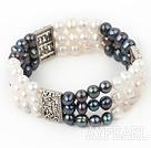 Popular 3-Row White And Black Freshwater Pearl Elastic Bracelet
