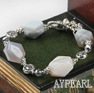 Fashion Irregular Shape Gray Agate Crystal Toggle Clasp Charm Bracelet