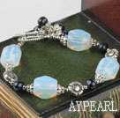 black pearl opal stone bracelet