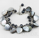 Fashion Black Freshwater Pearl And Heart Shape Lip Shell Link Bracelet With Extendable Chain