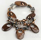 Lovely Brown Hollow Shell And Brown Crystal Metal Charm Bracelet Bangle