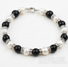 Wholesale White Freshwater Pearl and Black Agate Bracelet with Rhinestone