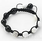 Wholesale Black Series 10mm Round White Porcelain Stone and Black Agate and Rhinestone Beads Adjustable Drawstring Bracelet