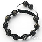 Black Series 10mm Round Obsidian and Rhinestone Beads Adjustable Drawstring Bracelet