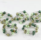 Wholesale Nice 5 Pcs 12Mm Round Green Series Acrylic Manmade Pearl Wrap Wired Bangle Bracelet