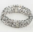 Wholesale Elastic Gray Crystal Bracelet