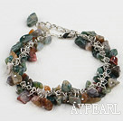 Popular Colorful Indian Agate Chipped Stone Link Charm Bracelet With Extendable Chain