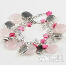 Elegant Flat Round Rose Quartz Pink Star Shape Shell White Crystal And Ccb Silver Like Metal Link Bracelet