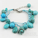 Classic Design Round Oval Mixed Shape Blue Turquoise Threaded Bracelet With Extendable Chain