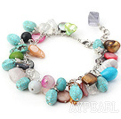 Assorted Multi Color Multi Stone Bracelet with Metal Chain