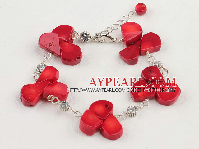 Fashion Red Coral Charm Bracelet With Lobster Clasp And Extendable Chain