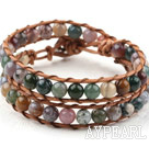 Two Rows Round Indian Agate Beads Weaved Wrap Bangle Bracelet with Metal Clasp