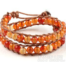Two Rows Natural Color Agate Beads Woven Wrap Bangle Bracelet with Metal Clasp
