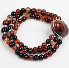 Wholesale Fashion Three Strand Visional Agate Beads Bracelet