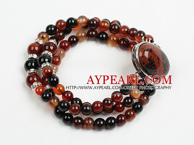 Fashion Three Strand Visional Agate Beads Bracelet