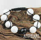 Wholesale black agate white stone bracelet