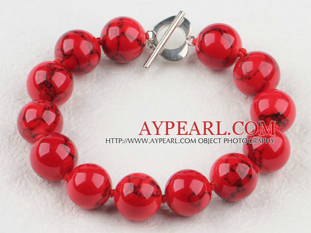 Favorite 14Mm Round Red Bloodstone Beaded Bracelet With Heart Shape Toggle Clasp
