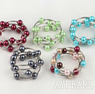 Wholesale 5 Pieces 5 Colors 12Mm Shell Beaded Wrap Thick Crochet Wired Bangle Bracelet