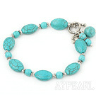 Wholesale burst pattern turquoise bracelet with toggle clasp