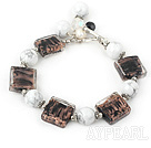 Wholesale Howlite colored glaze beads bracelet  with toggle clasp