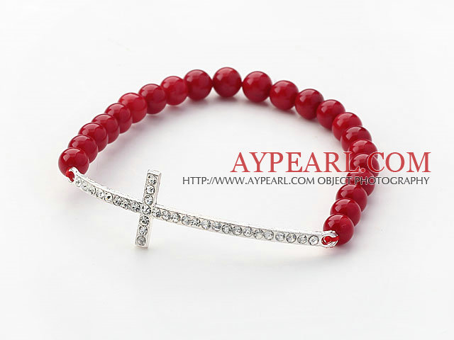 Red Series 6mm Red Coral Beads and Sideway/Side Way White Rhinestone Cross Stretch Bracelet