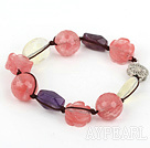 Lovely Hande-Knitted Cherry Quartz Amethyst White Crystal Bracelet