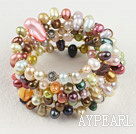 Beautiful Multi Colorful Pearl And Crystal Wrap Elastic Stretch Bangle Bracelet