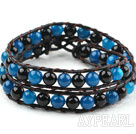Two Rows Round Black and Blue Agate Beads Woven Wrap Bangle Bracelet with Metal Clasp