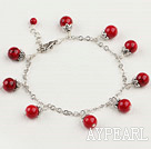 Fashion Round Bloodstone With Metal Cap Charm Loop Link Bracelet