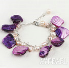 Fashion White Freshwater Pearl And Purple Shell Loop Link Bracelet With Lobster Clasp