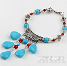 Fashion Bloodstone And Teardrop Blue Turquoise Pendant Link Flower Metal Charm Bracelet