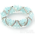 Two Rows Sky Blue Jade Crystal Stretch Bangle Bracelet with Rhinestone
