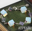 Wholesale Beautiful Thick Rhombus Shape Moonstone And Garnet Bracelet With Extendable Chain
