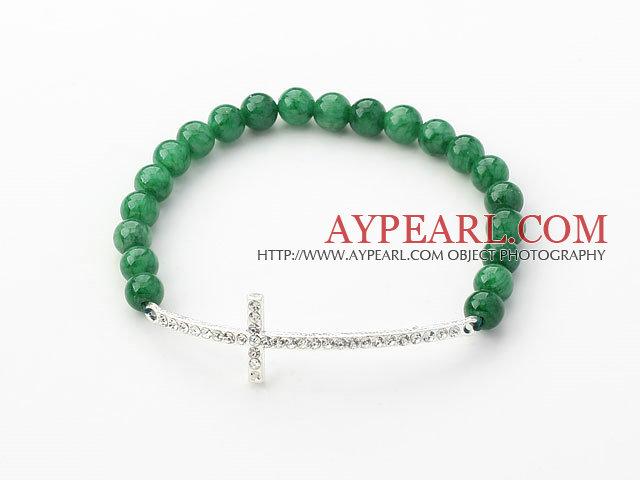 Dark Green Series 6mm Dark Green Jade and Sideway/Side Way White Rhinestone Cross Stretch Bracelet