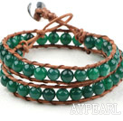 Two Rows Round Green Agate Beads Weaved Wrap Bangle Bracelet with Metal Clasp