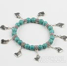Wholesale 8mm turquoise beads elastic bracelet with lovely heart charms