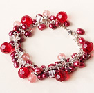 Wholesale red pearl and crystal bracelet with extendable chain