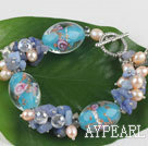 Wholesale pearl crystal blue stone and colored glaze bracelet