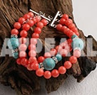 3 strand coral and turquoise bracelet